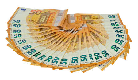 Bunch of fifty Euros banknotes isolated on a white background