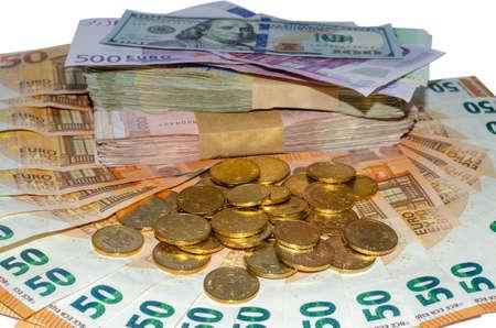 Bunch of money - Euro banknotes, US Dollar, Serbian Dinar banknotes and coins