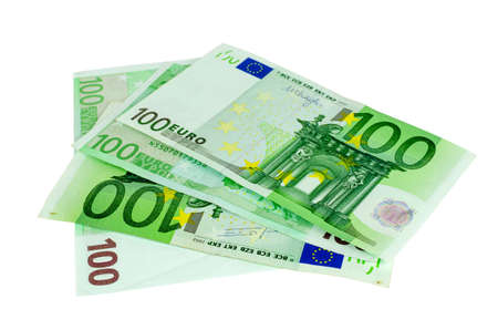 One hundred Euros banknotes isolated on a white background
