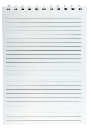 Notepad with wire binding on top and horizontal lines on pages - isolated on white background