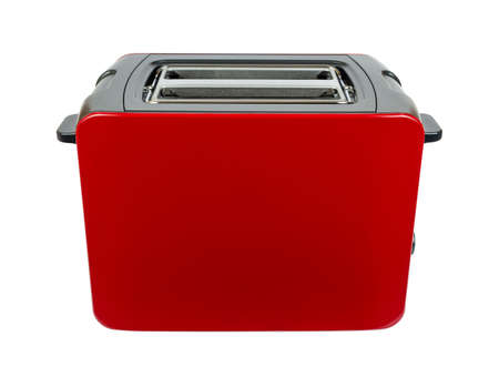 New red toaster with grey parts isolated on white background