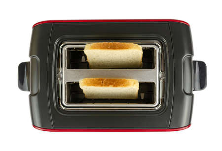Toaster with two pieces of fresh bread, isolated on white background - shot from above Stock Photo