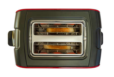 Toaster with two pieces of bread, isolated on white background - shot from above