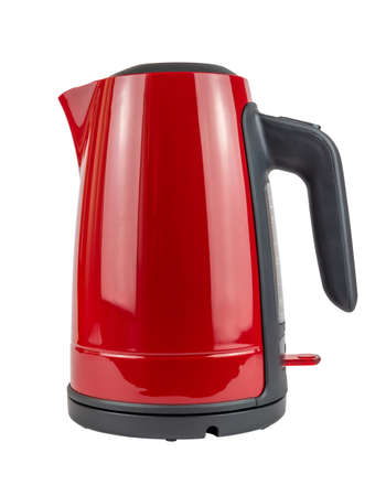 Side view of red and black kettle with closed lid isolated on white background Stock Photo