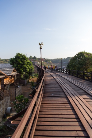 morn: Mon bridge  Wooden bridge  at Sangkhlaburi, Kanchanaburi Editorial