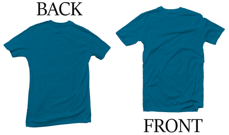 Antique Royal Blue Back Front Mock Up Tshirt Stock Photo - 117543984