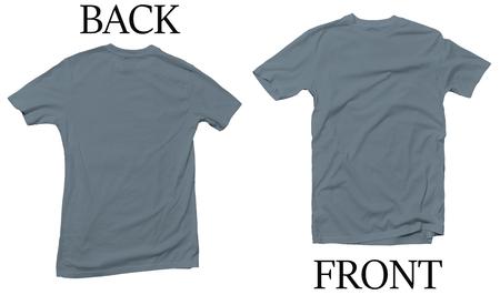 Stone Blue Back Front Mock Up Tshirt Stock Photo