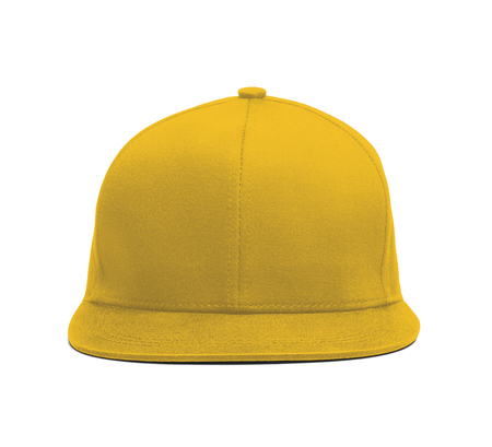 A modern Snapback Front Cap MockUp In Freesia Yellow Color to help you present your hat designs beautifully. You can customize almost everything in this hat mockup to match your cap design. 写真素材