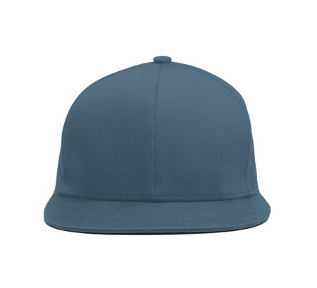 Ein modernes Snapback Front Cap MockUp in Blue Stone Farbe, mit dem Sie Ihre Hutdesigns wunderschön präsentieren können Sie können fast alles in diesem Hutmodell an Ihr Kappendesign anpassen. Standard-Bild