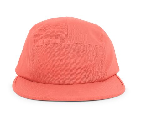 A modern Cool Guy Cap Mock Up In Living Coral Color to help you present your hat designs beautifully. You can customize almost everything in this hat mockup to match your cap design.