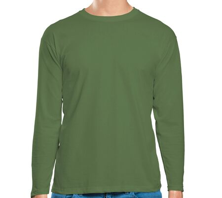 This high resolution Front View Long Sleeve Tshirt Mock Up In Green Kale Color will make your design as photorealistic result in mere minutes. Showcase your designs like a pro. Stock Photo