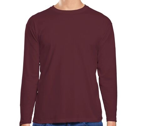 This high resolution Front View Long Sleeve Tshirt Mock Up In Tawny Port Color will make your design as photorealistic result in mere minutes. Showcase your designs like a pro.