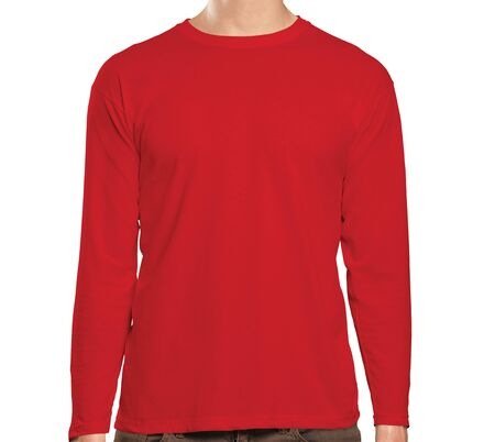 This high resolution Front View Long Sleeve Tshirt Mock Up In Flame Scarlet Color will make your design as photorealistic result in mere minutes. Showcase your designs like a pro. Фото со стока