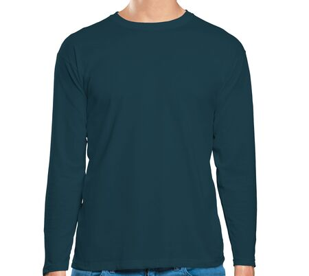 This high resolution Front View Long Sleeve Tshirt Mock Up In Reflecting Pond Color will make your design as photorealistic result in mere minutes. Showcase your designs like a pro.