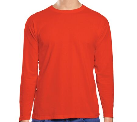 This high resolution Front View Long Sleeve Tshirt Mock Up In Cherry Tomato Color will make your design as photorealistic result in mere minutes. Showcase your designs like a pro.