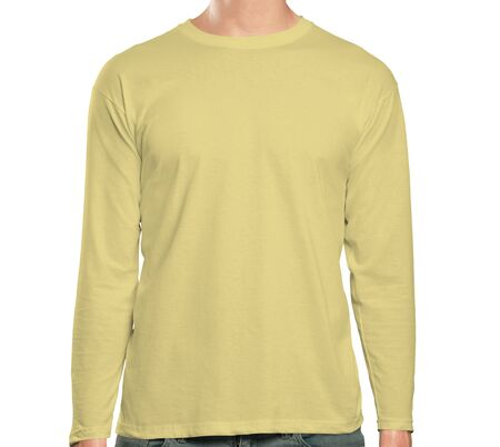 This high resolution Front View Long Sleeve Tshirt Mock up In Yellow Custard Color will make your design as photorealistic result in mere minutes. Showcase your designs like a pro.