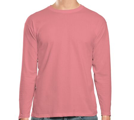 This high resolution Front View Long Sleeve Tshirt Mock Up In Strawberry Ice Color will make your design as photorealistic result in mere minutes. Showcase your designs like a pro.