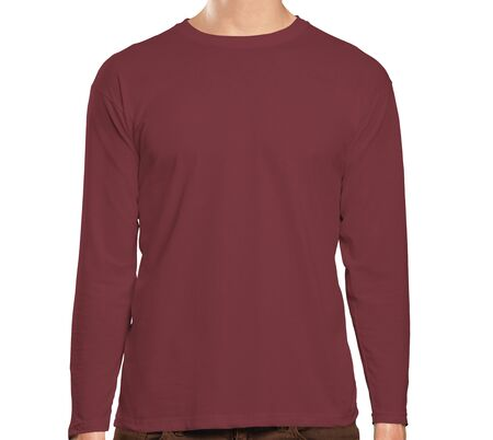 This high resolution Front View Long Sleeve Tshirt Mock Up In Merlot Beries Color will make your design as photorealistic result in mere minutes. Showcase your designs like a pro. Фото со стока