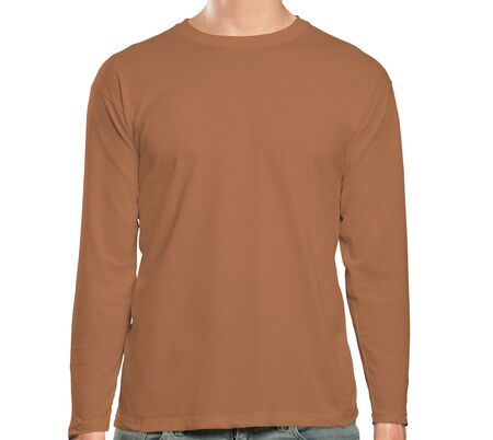 This high resolution Front View Long Sleeve Tshirt Mock Up In Brown Hazel Color will make your design as photorealistic result in mere minutes. Showcase your designs like a pro.