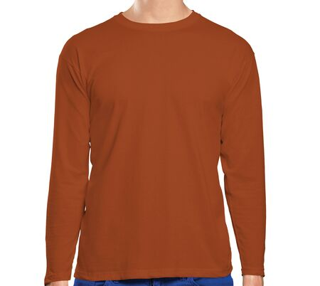 This high resolution Front View Long Sleeve Tshirt Mock Up In Pottery Clay Color will make your design as photorealistic result in mere minutes. Showcase your designs like a pro.