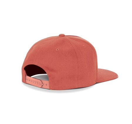A blank Back View Dancer Cap Mock Up In Valiant Poppy Color up to help your designs beautifully. Promote your hat brand across with this high resolution Mock up.