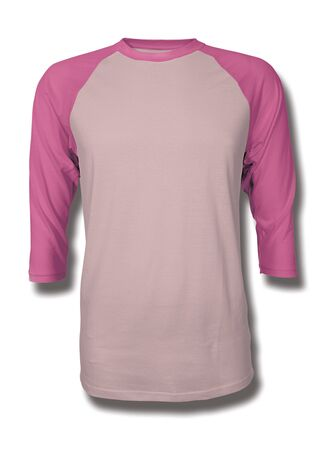 Pasting your graphic into this Front View Three Quarter Sleeves Baseball Tshirt Mock Up In Rose Quartet Color, Showcase your designs like a graphic design pro