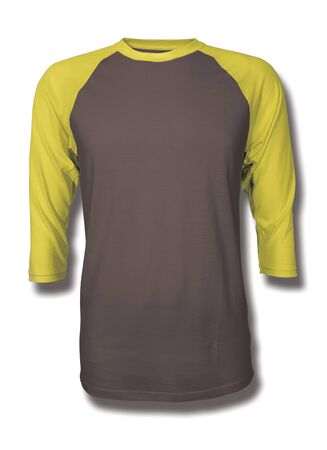 Pasting your graphic into this Front View Three Quarter Sleeves Baseball Tshirt Mock Up In Chicory Coffee Color, Showcase your designs like a graphic design pro