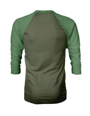 Showcase your own designs like a graphic design pro, by adding your beauty design to this Back View Three Quarter Sleeves Baseball Tshirt Mock Up In Cypress Green Color templates.