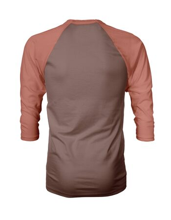Showcase your own designs like a graphic design pro, by adding your beauty design to this Back View Three Quarter Sleeves Baseball Tshirt Mock Up In Cognac Flavor Color templates. Stockfoto