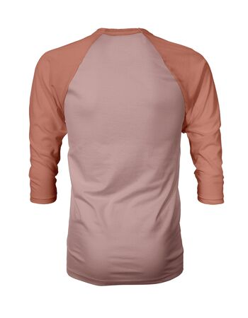 Showcase your own designs like a graphic design pro, by adding your beauty design to this Back View Three Quarter Sleeves Baseball Tshirt Mock Up In Mellow Rose Color templates. Stockfoto