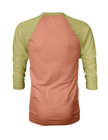 Showcase your own designs like a graphic design pro, by adding your beauty design to this Back View Three Quarter Sleeves Baseball Tshirt Mock Up In Cadmium Orange Color templates. Stockfoto
