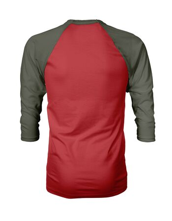 Showcase your own designs like a graphic design pro, by adding your beauty design to this Back View Three Quarter Sleeves Baseball Tshirt Mock Up In Flame Scarlet Color templates.