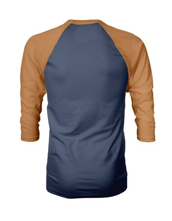 Showcase your own designs like a graphic design pro, by adding your beauty design to this Back View Three Quarter Sleeves Baseball Tshirt Mock Up In Navy Peony Color templates. Stockfoto