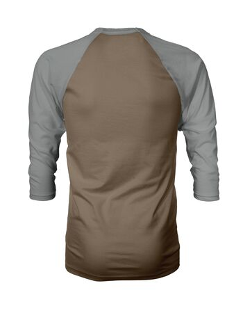 Showcase your own designs like a graphic design pro, by adding your beauty design to this Back View Three Quarter Sleeves Baseball Tshirt Mock Up In Wild Otter Color templates.