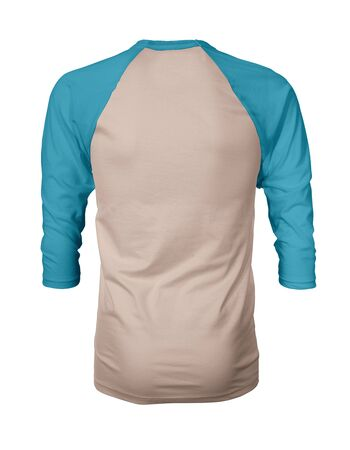 Showcase your own designs like a graphic design pro, by adding your beauty design to this Back View Three Quarter Sleeves Baseball Tshirt Mock Up In Creme de Peche Color templates.