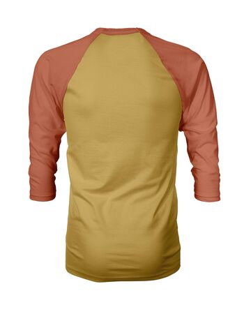 Showcase your own designs like a graphic design pro, by adding your beauty design to this Back View Three Quarter Sleeves Baseball Tshirt Mock Up In Spicy Mustard Color templates. Stockfoto