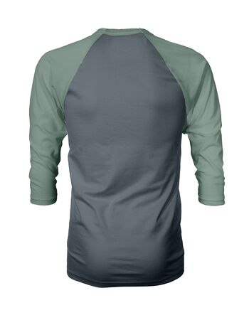 Showcase your own designs like a graphic design pro, by adding your beauty design to this Back View Three Quarter Sleeves Baseball Tshirt Mock Up In Stormy Weather Color templates.