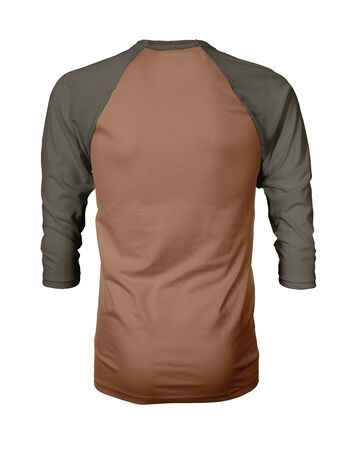 Showcase your own designs like a graphic design pro, by adding your beauty design to this Back View Three Quarter Sleeves Baseball Tshirt Mock Up In Brown Hazel Color templates. Stockfoto