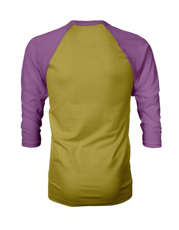 Showcase your own designs like a graphic design pro, by adding your beauty design to this Back View Three Quarter Sleeves Baseball Tshirt Mock Up In Antique Moss Color templates. Stockfoto