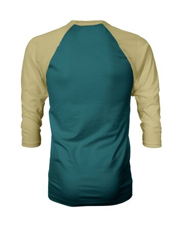 Showcase your own designs like a graphic design pro, by adding your beauty design to this Back View Three Quarter Sleeves Baseball Tshirt Mock Up In Shaded Spruce Color templates.