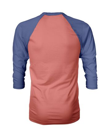 Showcase your own designs like a graphic design pro, by adding your beauty design to this Back View Three Quarter Sleeves Baseball Tshirt Mock Up In Peach Echo Color templates.