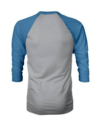 Showcase your own designs like a graphic design pro, by adding your beauty design to this Back View Three Quarter Sleeves Baseball Tshirt Mock Up In Harbor Mist Color templates. Stockfoto