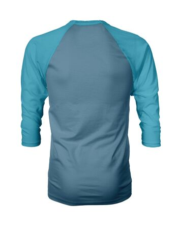 Showcase your own designs like a graphic design pro, by adding your beauty design to this Back View Three Quarter Sleeves Baseball Tshirt Mock Up In Blue Niagara Color templates. Stockfoto