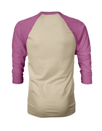 Showcase your own designs like a graphic design pro, by adding your beauty design to this Back View Three Quarter Sleeves Baseball Tshirt Mock Up In Vanilla Custard Color templates.