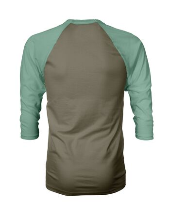 Showcase your own designs like a graphic design pro, by adding your beauty design to this Back View Three Quarter Sleeves Baseball Tshirt Mock Up In Martini Olive Color templates. Stockfoto