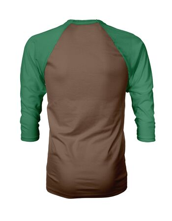 Showcase your own designs like a graphic design pro, by adding your beauty design to this Back View Three Quarter Sleeves Baseball Tshirt Mock Up In Bitter Toffee Color templates.