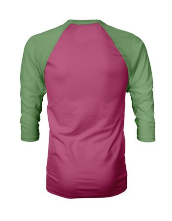 Showcase your own designs like a graphic design pro, by adding your beauty design to this Back View Three Quarter Sleeves Baseball Tshirt Mock Up In Pink Peacock Color templates.