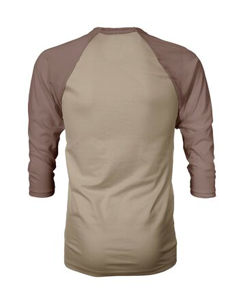 Showcase your own designs like a graphic design pro, by adding your beauty design to this Back View Three Quarter Sleeves Baseball Tshirt Mock Up In Desert Sand Color templates.
