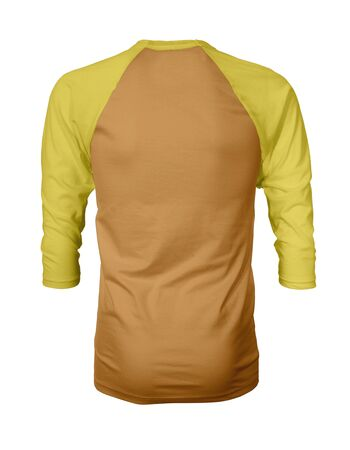 Showcase your own designs like a graphic design pro, by adding your beauty design to this Back View Three Quarter Sleeves Baseball Tshirt Mock Up In Butter Scotch Color templates. Фото со стока