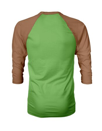 Showcase your own designs like a graphic design pro, by adding your beauty design to this Back View Three Quarter Sleeves Baseball Tshirt Mock Up In Green Flash Color templates. Stockfoto